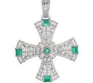 Judith Ripka Sterling Emerald Cross Enhancer - J376519