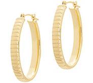 EternaGold 1-1/8 Oval Omega Hoop Earrings, 14KGold - J386219