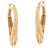 Arte d Oro Satin Texture Oval Hoop Earrings 18K Gold - J348820