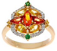 Fire Opal & Sapphire Cluster Diamond Ring, 14K Gold 1.95 ct - J349420