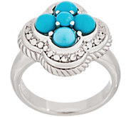 Sleeping Beauty Turquoise Cluster Flower Ring, Sterling - J354020