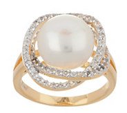 Honora Cultured Pearl & White Topaz Ring, Clad or Sterling Silver - J354620