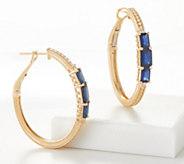 Judith Ripka 14K Gemstone 1/8 Carat Diamond Hoop Earrings - J360520