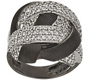 Italian Silver Crystal Satin Woven Design Ring, Sterling - J377420