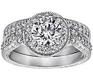 Diamonique 2.10 cttw Round Halo Ring Set, Platinum Plated - J380520