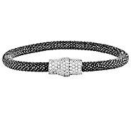 Italian Silver Mesh Crystal Magnetic Bracelet - J382720