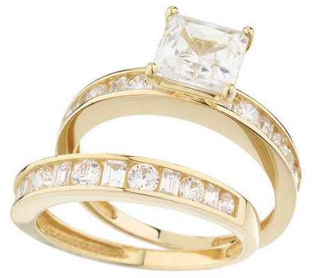 qvc wedding rings diamonique 2 35 ct tw princess 2 pc ring set 14k gold 6936