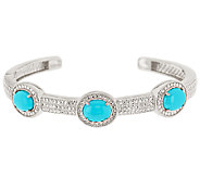 As Is Sleeping Beauty Turquoise Avg. Diamond Cut Hinged Cuff - J322421