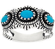 American West Sleeping Beauty Turquoise Sterling 3 Stone Ring - J326121
