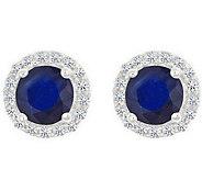 Premier Round 1cttw Sapphire & Diamond Halo Stud Earrings, 14 - J336721