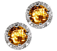 Gemstone & 1/8 ct tw Diamond Sterling Halo StudEarrings - J338321