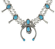 American West Sterling Turquoise Squash BlossomNecklace - J343221