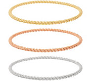 Judith Ripka Verona Sterling Tri-color Set of 3 Bangles 36.5g - J349221