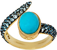 As Is Judith Ripka Sterling & 14K Clad Turquoise & Blue Topaz Ring - J353621