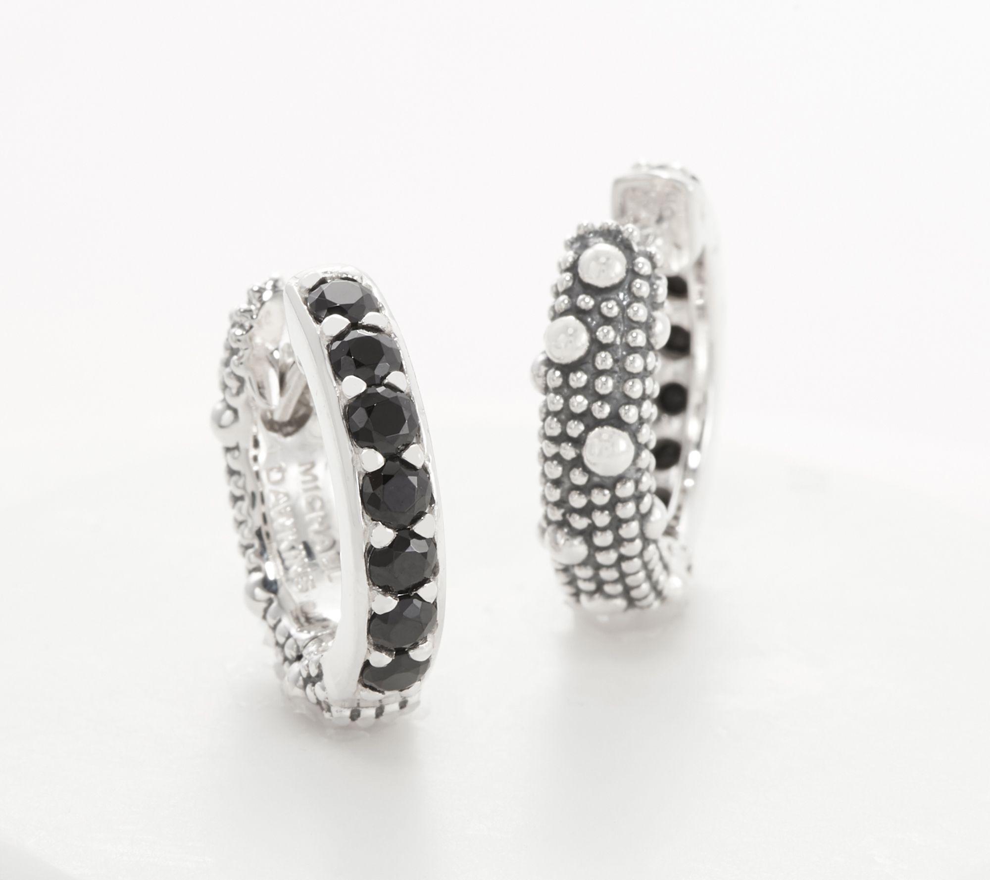 Michael Dawkins Sterling Silver Reversible Gemstone 1 2 Hoop Earrings Qvc