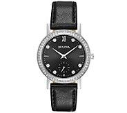 Bulova Womens Crystal Watch with Black LeatherStrap - J375121