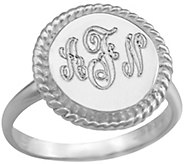 Personalized Monogram Sterling Rope-Accent Ring - J384821