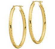 14K Gold 1-1/2 Diamond-Cut Oval Hoop Earrings - J385721