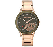 Juicy Couture Rosetone Stainless Watch with Olive Dial - J388921