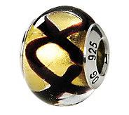 Prerogatives Sterling Black & Yellow Italian Murano Glass Bead - J111622