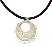 RLM Bronze Two Tone Multi Rings Pendant on Single Leather Cord - J328822