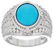 Oval Sleeping Beauty Turquoise Sterling Wide Band Ring - J347622