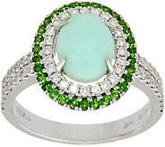 Green Opal & Chrome Diopside 4/10 cttw Diamond Ring, 14K Gold - J349422