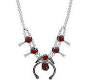American West Gemstone Squash Blossom Sterling Silver Necklace - J351422