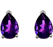14K White Gold Pear-Shaped Gemstone Post Earrings - J377022