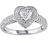 Affinity 14K White Gold 1.00 cttw Heart Halo Diamond Ring - J381122