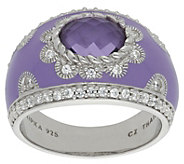 Judith Ripka Sterling Amethyst Diamonique Enamel Ring - J383222