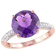 14K 3.75 cttw Amethyst and 1/7 cttw Diamond Ring - J392322
