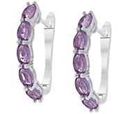 Sterling Grape Garnet Hoop Earrings - J392422