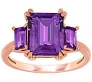 14K Rose Gold 3.80 cttw Amethyst Three-Stone Ring - J392522