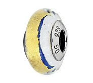 Prerogatives Blue with Gold & White Italian Murano Glass Bead - J300223