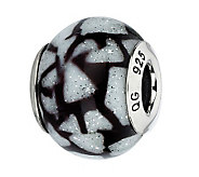 Prerogatives White & Black Glitter Italian Murano Glass Bead - J300423