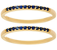 Set of 2 Blue Sapphire Band Rings, 14K Gold 0.20 cttw - J333423
