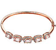 5-Stone Morganite & Diamond Bangle, Sterling/14K Rose Clad - J338523