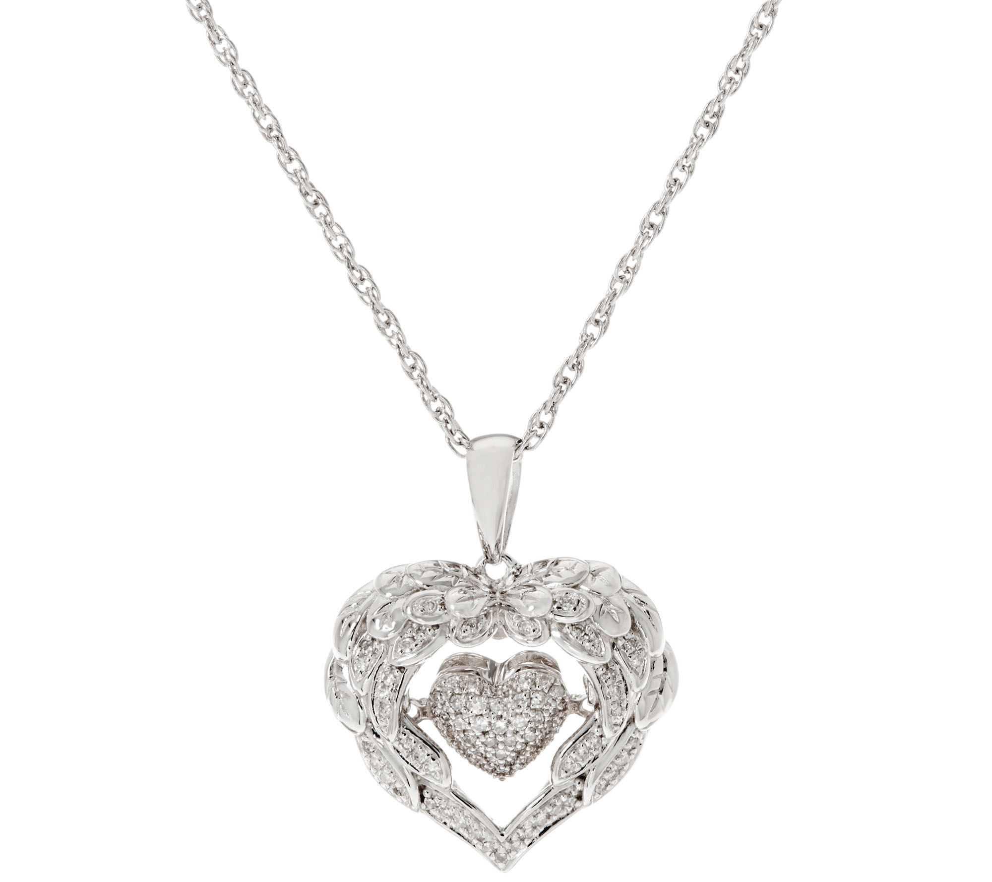 Dancing Angel Wing Heart Pendant on Chain Sterling by Affinity