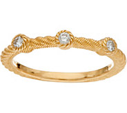 Judith Ripka 14K Gold 1/7 cttw Bezel Set Diamond Ring - J347423