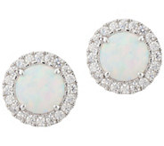 Diamonique and Synthetic Opal Stud Earrings, Sterling - J351223