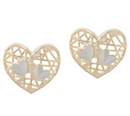 Italian Gold Motif Stud Earrings, 14K Gold - J355723