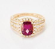 Elongated Cushion-Cut Garnet & Diamond Ring, 2.25 cttw, 14K - J360023