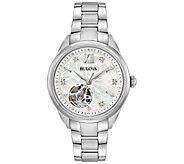 Bulova Womens Stainless Diamond Automatic Movement Watch - J375123