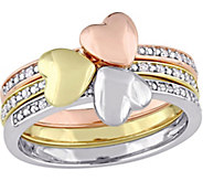 3-Piece Diamond Accent Heart Stack Ring, 14K Gold - J375323