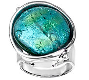 Kalos by Hagit Sterling Green & Blue Glass BeadRing - J375523