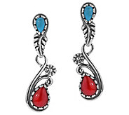 American West Sterling Gemstone Floral & Leaf Drop Earrings - J385223