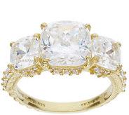 Judith Ripka 14K Clad 3-Stone 5.60 Cttw Diamonique Ring - J385423