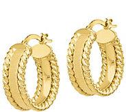 Italian Gold 3/4 Satin & Twisted Hoop Earrings, 14K - J385723