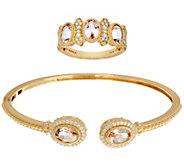 Judith Ripka 14K Gold Morganite & Diamond Cuff or Ring - J59123